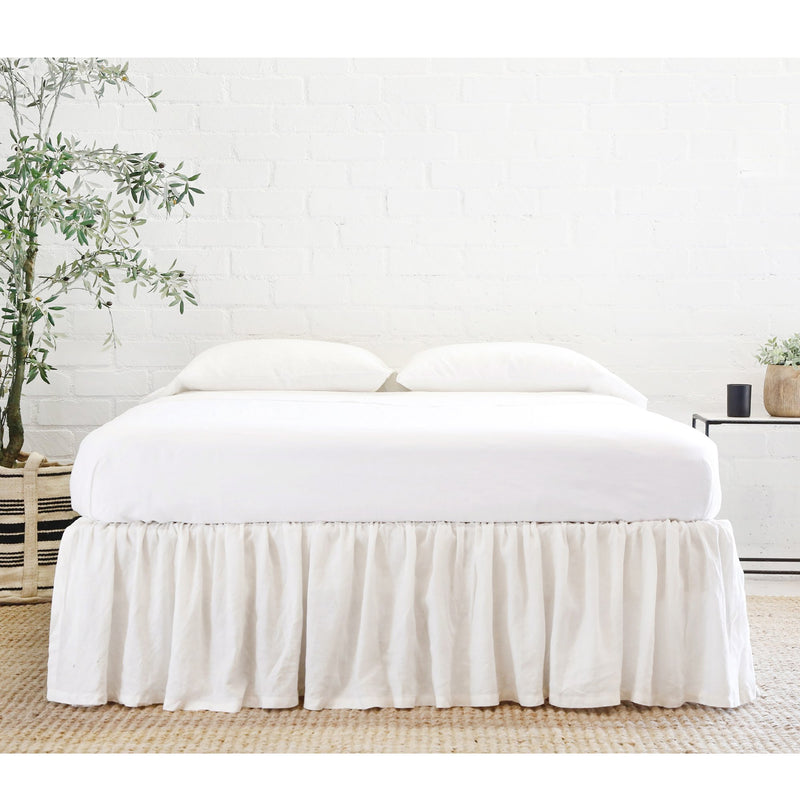POM POM GATHERED LINEN BEDSKIRT - CREAM