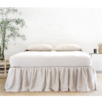 POM POM GATHERED LINEN BEDSKIRT - FLAX
