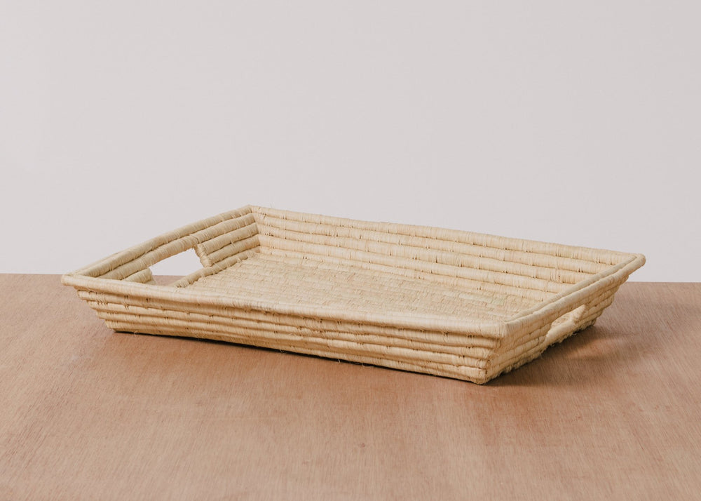 NATURAL RECTANGULAR RAFFIA TRAY