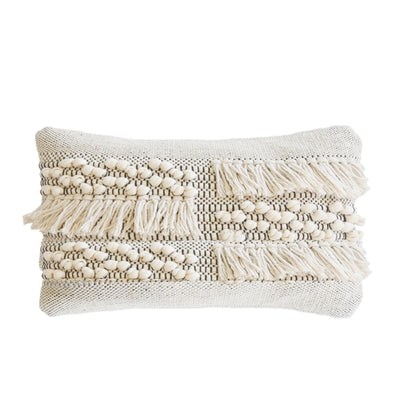 "POM POM ZAHRA HAND WOVEN PILLOW 14"" X 24"" WITH INSERT"