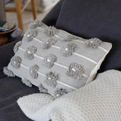 "POM POM LOLA HAND WOVEN PILLOW 14"" x 24"" WITH INSERT-TAUPE/IVORY"
