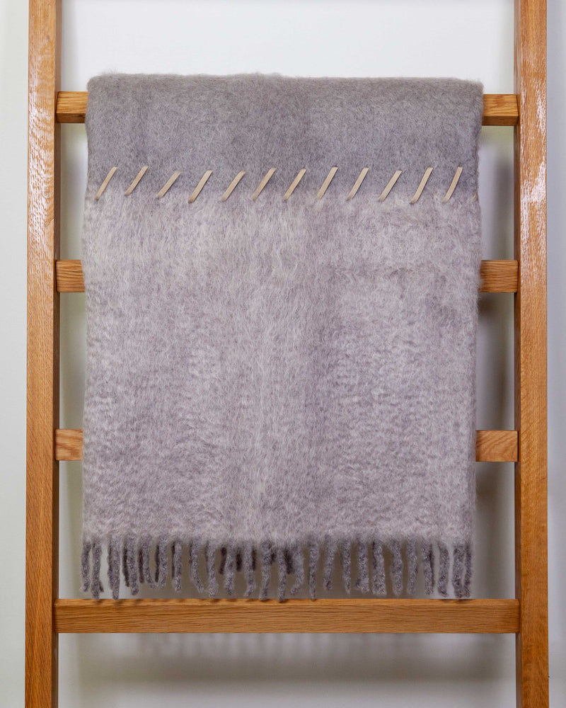 MOHAIR SUEDE WHIPSTITCH BLANKET - GREY