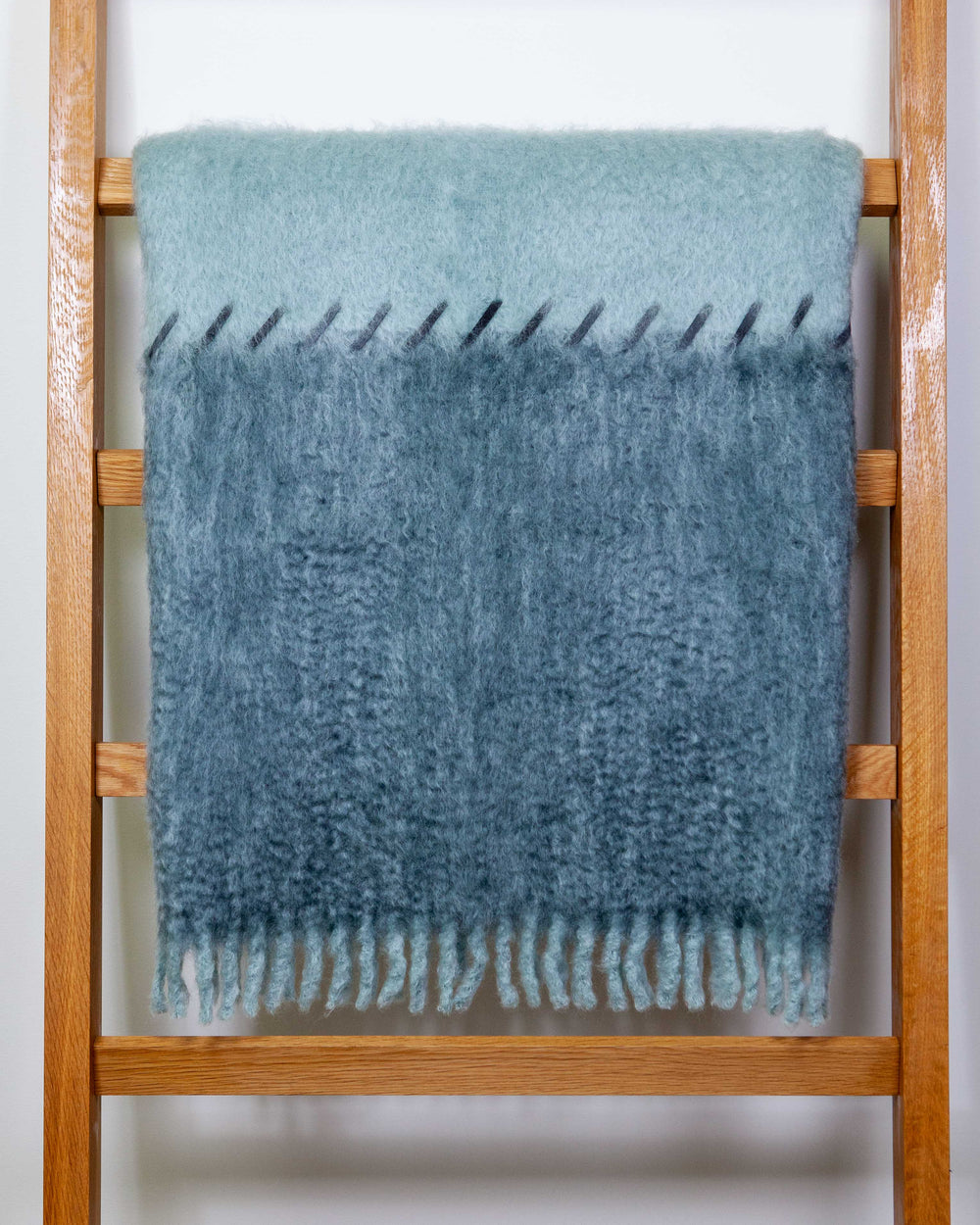 MOHAIR SUEDE WHIPSTITCH BLANKET - LIGHT BLUE