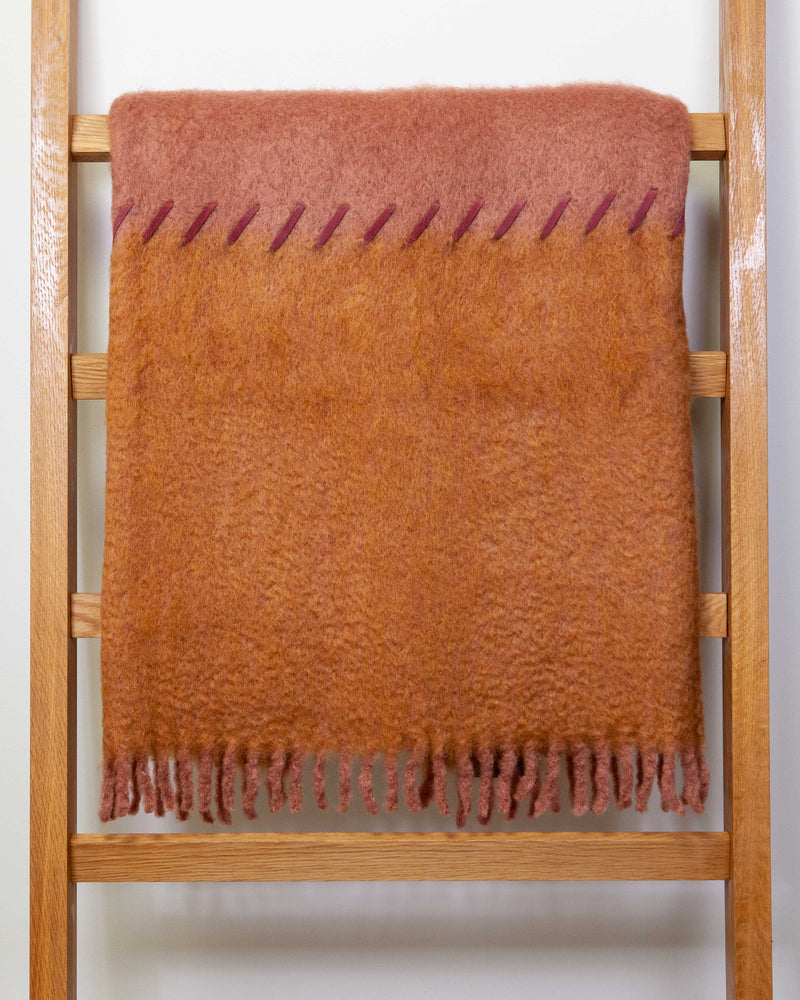 MOHAIR SUEDE WHIPSTITCH BLANKET - SALMON