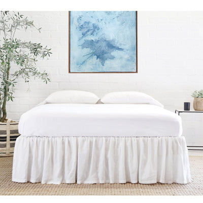 POM POM GATHERED LINEN BEDSKIRT- WHITE
