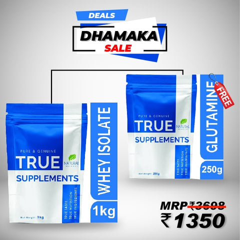 True Supplement Whey Isolate 1kg Get FREE T/s Glutamine 250g