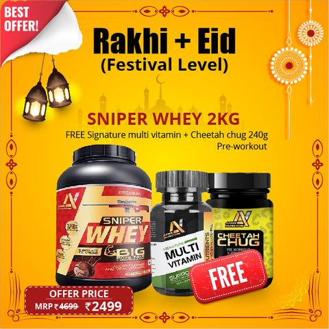 Buy Sniper Whey 2kg & Get FREE Cheetah Chug Pre-Workout+Signature Multivitamin