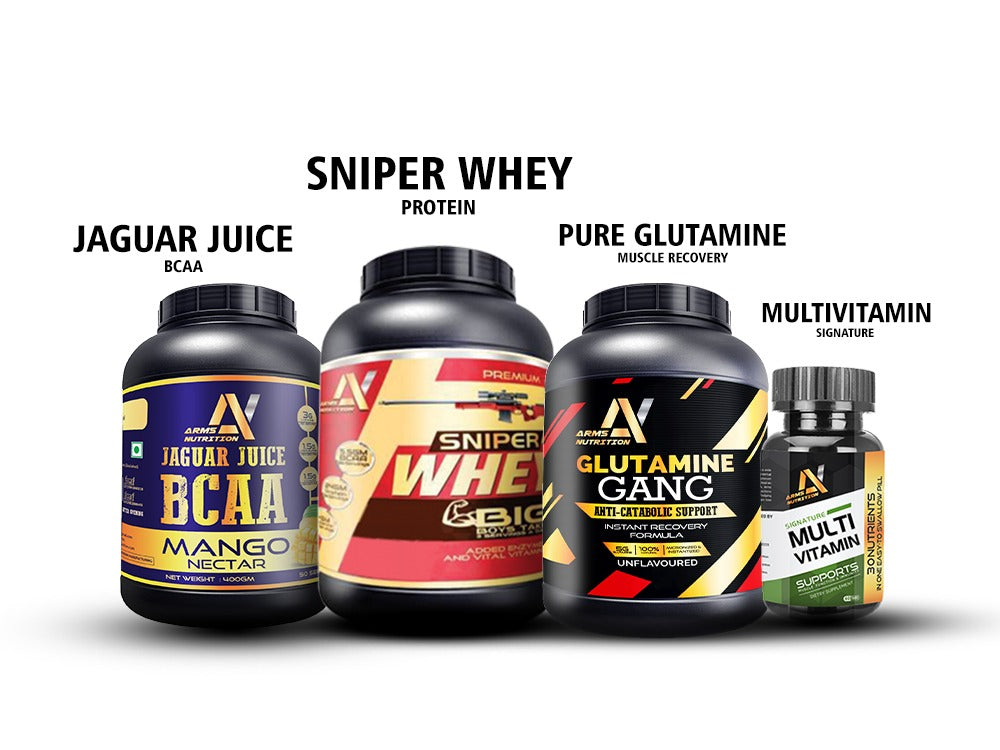 Sniper Whey Protein 80% 2Kg (Chocolate Ice Cream) with Jaguar Juice BCAA 240g with Glutamine Gang 250g & Signature Multi Vitamin