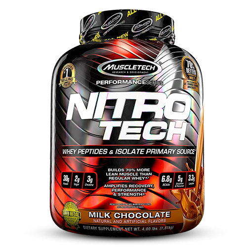 Muscletech Performance Series Nitrotech Whey Protein Peptides & Isolate 4lbs (1.81kg) (Milk Chocolate)