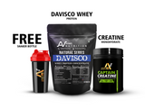 Davisco Whey Protein 2kg with Digestive Enzymes (65+ Servings) & Captain Creatine 250g & Free Shaker