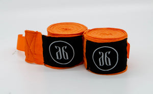 Orange boxing hand wraps