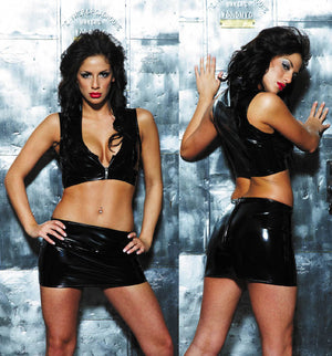 front and back zip front black vinyl bustier 05-8057B with skirt