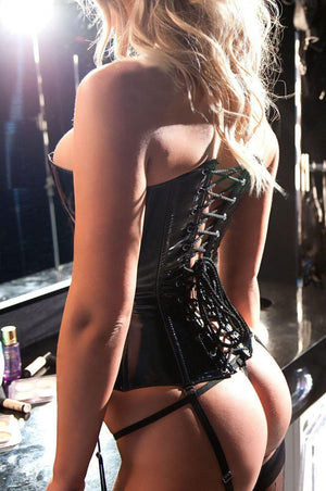back of Lace-up vinyl corset with pink ribbon detail 11-8077