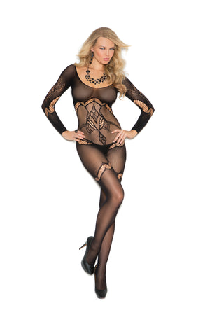 Long sleeve black floral crochet bodystocking 1289