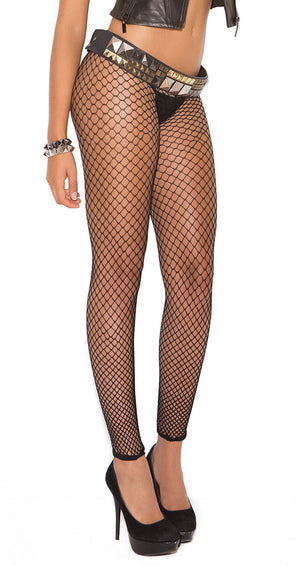 close-up of black fence net leggings 1516
