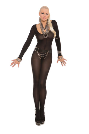 black opaque long sleeve bodystocking with open crotch 1606
