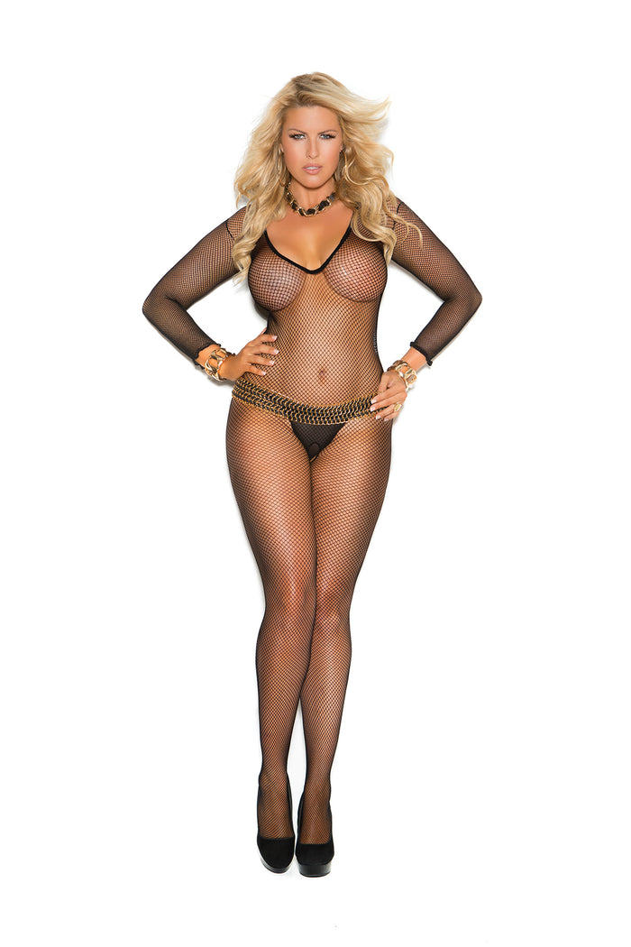 Plus Size Deep V Black Fishnet Bodystocking