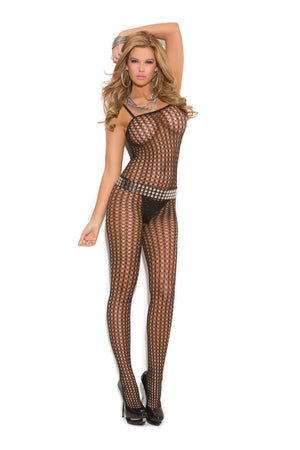 Black seamless crochet bodystocking 1614
