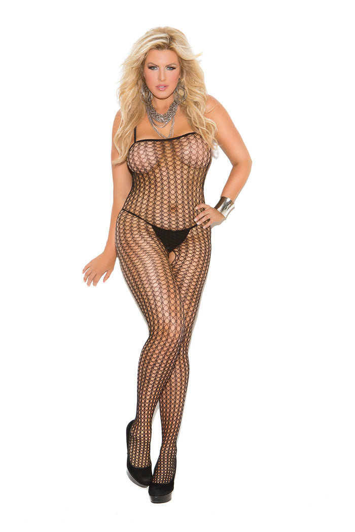 Plus Size Black Seamless Crochet Bodystocking