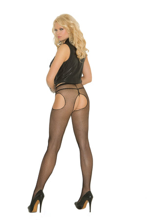 back of Black fishnet suspender pantyhose 1711