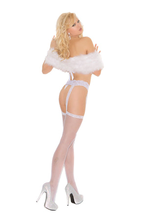 back of white Fishnet thigh high stockings with lace garter belt 1713