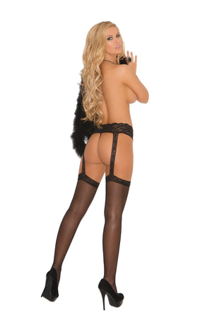 back of Sheer black thigh high stockings with lace garter belt 1714