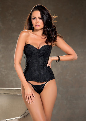 lace and satin overlay corset in black 31327