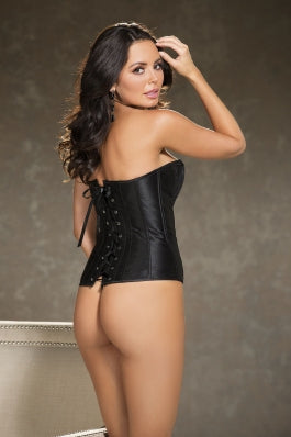back of lace and satin overlay corset in black 31327