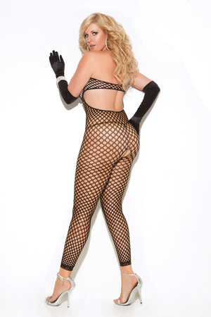 back of plus size black crochet bodystocking with keyhole front 8590Q