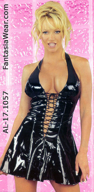 vinyl lace-up dress with back zipper 17-1057 standing