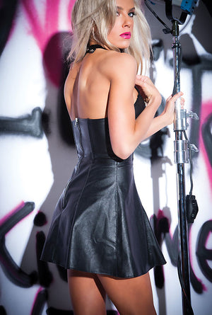 back of faux leather halter dress with back zipper 17-9502