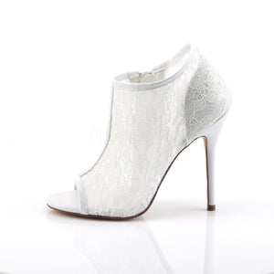 white open toe bootie shoe with lace overlay, 5-inch spike heel Amuse-56