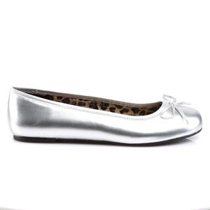 side of silver classic adult ballet flat with bow accent Anna-01