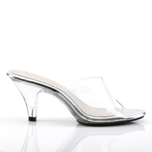 side view of Clear slipper shoes with 3-inch clear heels Belle-301
