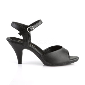side view of black Ankle strap sandal woman's shoe with 3-inch heel Belle-309
