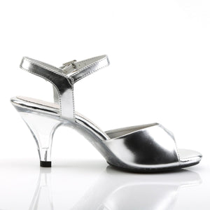side view of silver Ankle strap sandal woman's shoe with 3-inch heel Belle-309