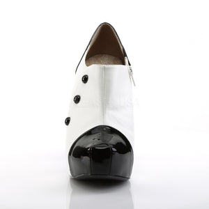 front of white platform 3-button ankle boot with 5-inch Chloe-11