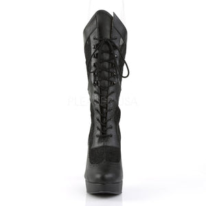 front of black wide width/shaft calf high boots with 5-inch heels Chloe-115