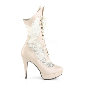 side view of cream wide knee high boots with 5-inch spike heels Chloe-115
