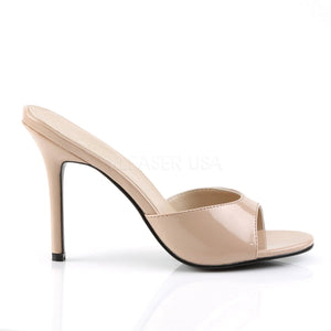 side view of nude Peep toe slide slipper with 4-inch heel Classique-01