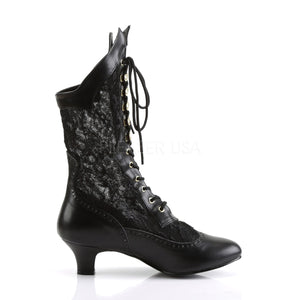 side of black Victorian lace ankle boots with 2-inch heel Dame-115