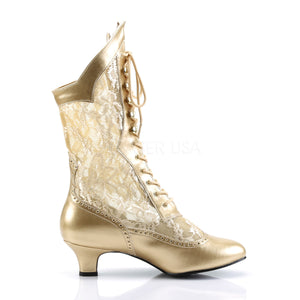 side of gold Victorian lace ankle boots with 2-inch heel Dame-115