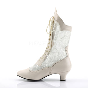 side of ivory Victorian lace ankle boots with 2-inch heel Dame-115