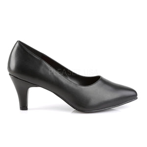 side view of classic black pump with 3-inch block heel Divine-420