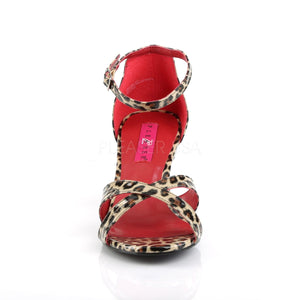 front of cheetah Ankle strap sandal shoe with 3-inch heel Divine-435