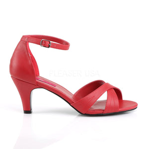 side view of red Ankle strap sandal shoe with 3-inch heel Divine-435