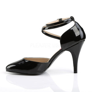 side of black Crisscross ankle strap D'Orsay pumps with 4-inch Dream-408