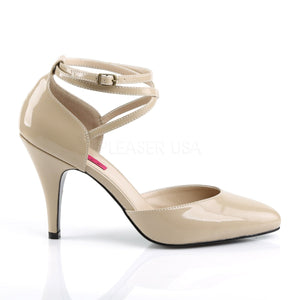 side of cream Crisscross ankle strap D'Orsay pumps with 4-inch Dream-408