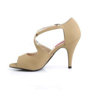 side of taupe peep toe crisscross ankle strap sandal 4-inch heel Dream-412