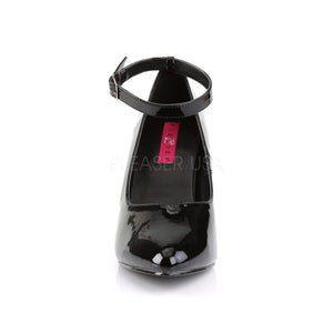 front of Black ankle strap pump shoe with 4-inch heel Dream-431